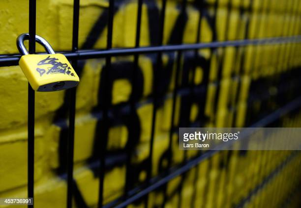 A padlock signed by head coach Juergen Klopp is seen at the 'Wand der Liebe' during a Borussia Dortmund and PUMA photocall at Signal Iduna Park on...