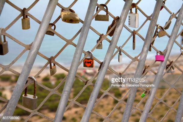 Padlocks of lovers on a bridge