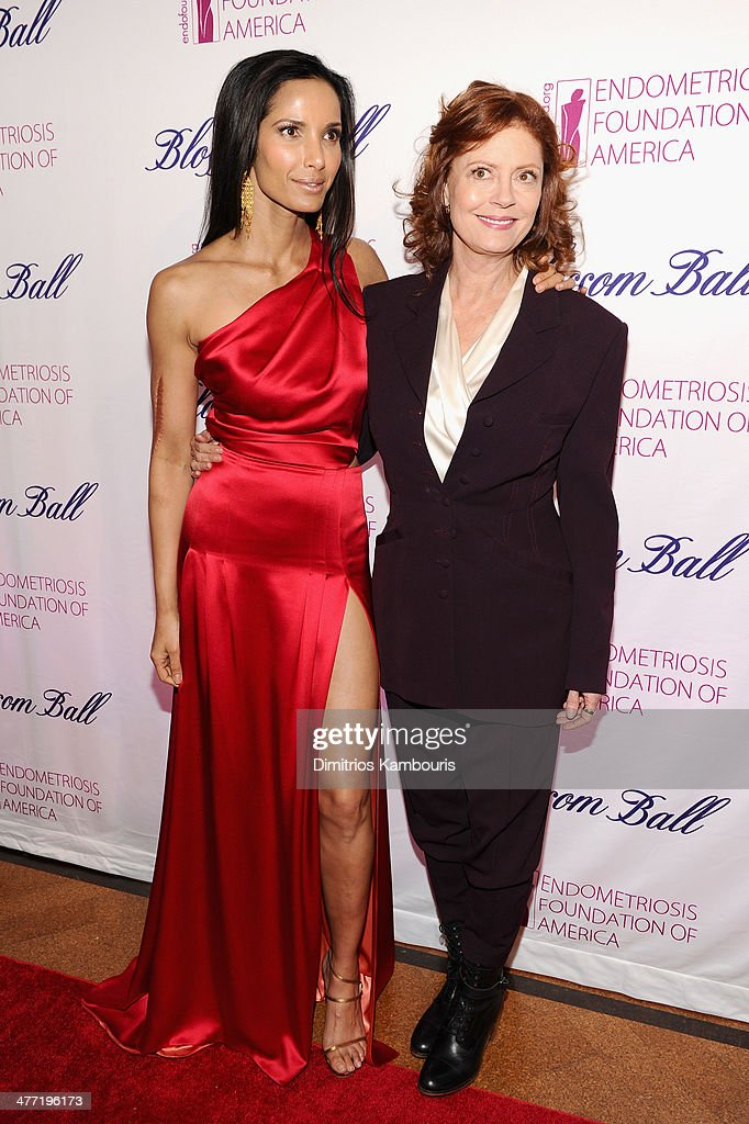 Padma Lakshmi (L) and actress Susan Sarandon attend the Endometriosis Foundation of America's 6th annual Blossom Ball hosted by Padma Lakshmi and Tamer Seckin, MD at 583 Park Avenue on March 7, 2014 in New York City.