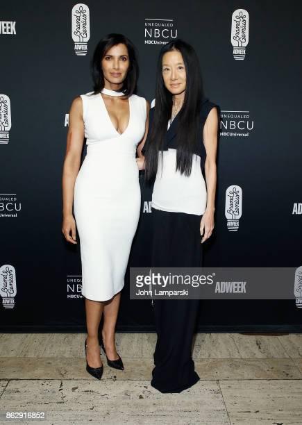 Padma Lakshmi and fashion designer Vera Wang attend 28th Annual Adweek Brand Genius Gala at Cipriani 25 Broadway on October 18 2017 in New York City
