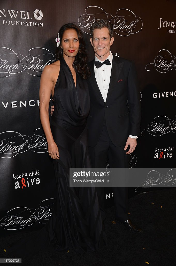 Padma Lakshmi and Peter Twyman attend Keep A Child Alive's 10th Annual Black Ball at Hammerstein Ballroom on November 7, 2013 in New York City.