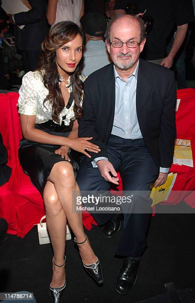 Padma Lakshmi and Salman Rushdie during Olympus Fashion Week Spring 2007 Diane Von Furstenberg Front Row and Backstage at The Tent Bryant Park in New...