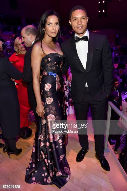 Padma Lakshmi and Trevor Noah attend the 2017 TIME 100 Gala at Jazz at Lincoln Center on April 25 2017 in New York City