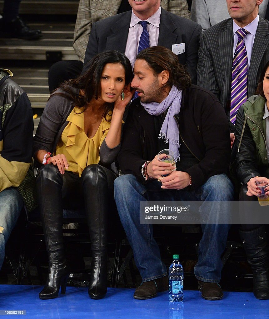 Padma Lakshmi and Vikram Chatwal attend the Brooklyn Nets vs New York Knicks game at Madison Square Garden on December 19, 2012 in New York City.