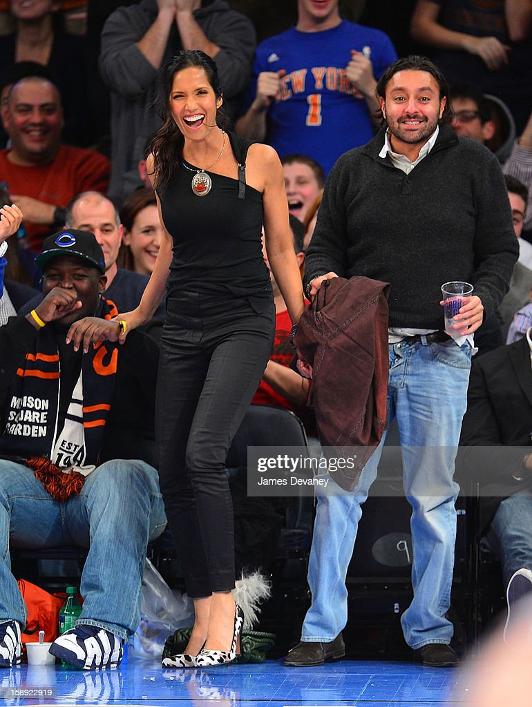 <a gi-track='captionPersonalityLinkClicked' href=/galleries/search?phrase=Padma+Lakshmi&family=editorial&specificpeople=201593 ng-click='$event.stopPropagation()'>Padma Lakshmi</a> and <a gi-track='captionPersonalityLinkClicked' href=/galleries/search?phrase=Vikram+Chatwal&family=editorial&specificpeople=871345 ng-click='$event.stopPropagation()'>Vikram Chatwal</a> attend the San Antonio Spurs vs New York Knicks game at Madison Square Garden on January 3, 2013 in New York City.