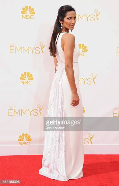 Padma Lakshmi arrives at the 66th Annual Primetime Emmy Awards at Nokia Theatre LA Live on August 25 2014 in Los Angeles California