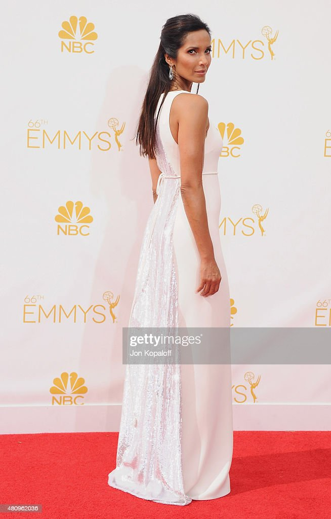 <a gi-track='captionPersonalityLinkClicked' href=/galleries/search?phrase=Padma+Lakshmi&family=editorial&specificpeople=201593 ng-click='$event.stopPropagation()'>Padma Lakshmi</a> arrives at the 66th Annual Primetime Emmy Awards at Nokia Theatre L.A. Live on August 25, 2014 in Los Angeles, California.