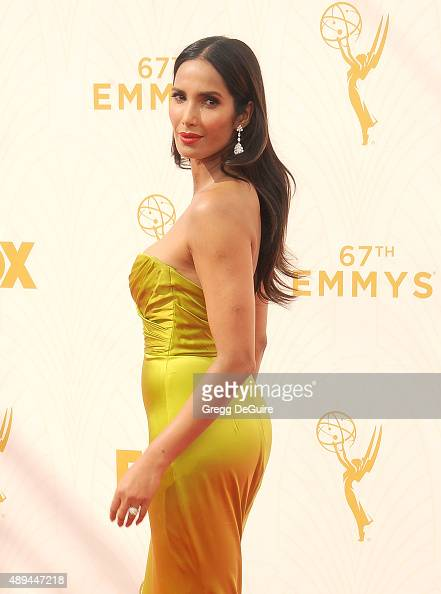 Padma Lakshmi arrives at the 67th Annual Primetime Emmy Awards at Microsoft Theater on September 20 2015 in Los Angeles California
