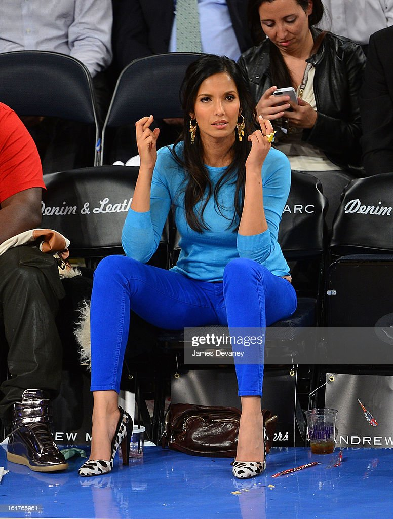 Padma Lakshmi attend the Memphis Grizzlies vs New York Knicks game at Madison Square Garden on March 27, 2013 in New York City.