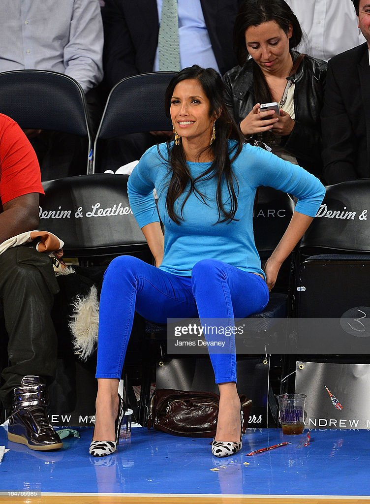 <a gi-track='captionPersonalityLinkClicked' href=/galleries/search?phrase=Padma+Lakshmi&family=editorial&specificpeople=201593 ng-click='$event.stopPropagation()'>Padma Lakshmi</a> attend the Memphis Grizzlies vs New York Knicks game at Madison Square Garden on March 27, 2013 in New York City.