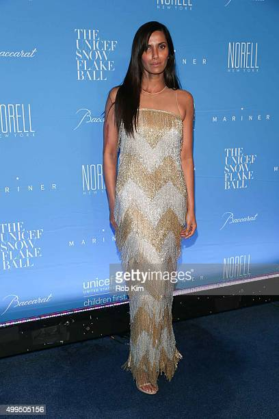 Padma Lakshmi attends 2015 UNICEF Snowflake Ball at Cipriani Wall Street on December 1 2015 in New York City