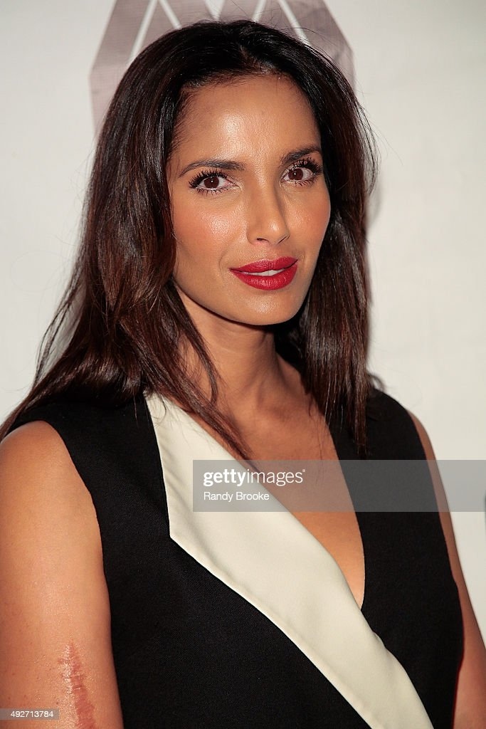 Padma Lakshmi attends the 2015 Mercado Global Fashion Forward Gala at The Bowery Hotel on October 14, 2015 in New York City.