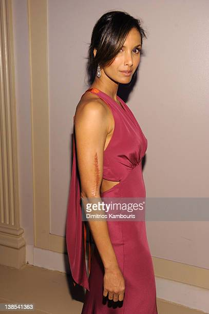 Padma Lakshmi attends the amfAR New York Gala To Kick Off Fall 2012 Fashion Week Presented By Hublot at Cipriani Wall Street on February 8 2012 in...
