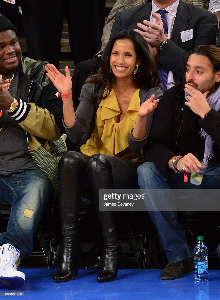 Padma Lakshmi attends the Brooklyn Nets vs New York Knicks game at Madison Square Garden on December 19, 2012 in New York City.