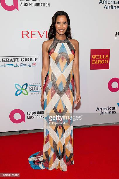 Padma Lakshmi attends the Elton John AIDS Foundation's 13th Annual An Enduring Vision Benefit at Cipriani Wall Street on October 28 2014 in New York...