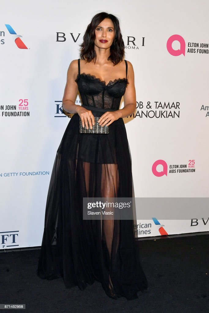 Padma Lakshmi attends the Elton John AIDS Foundation's Annual Fall Gala with Cocktails By Clase Azul Tequila at Cathedral of St. John the Divine on November 7, 2017 in New York City.