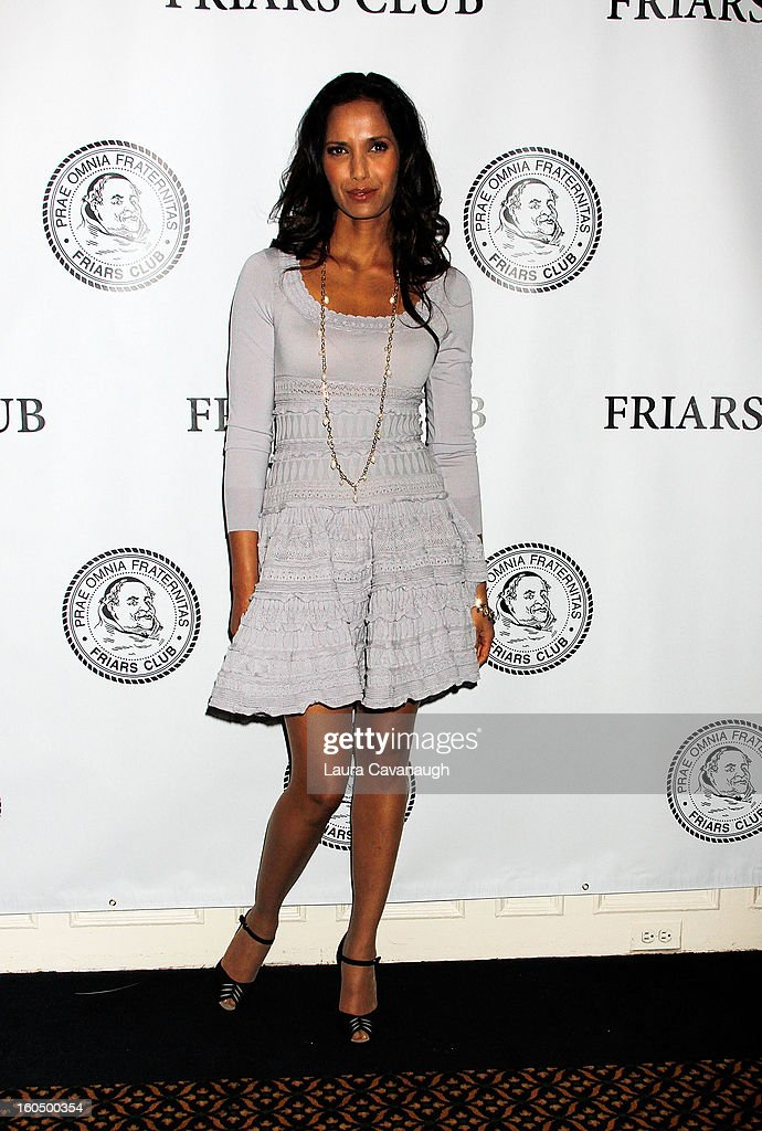 <a gi-track='captionPersonalityLinkClicked' href=/galleries/search?phrase=Padma+Lakshmi&family=editorial&specificpeople=201593 ng-click='$event.stopPropagation()'>Padma Lakshmi</a> attends The Friars Club Presents: Do You Think You Can Roast?! <a gi-track='captionPersonalityLinkClicked' href=/galleries/search?phrase=Padma+Lakshmi&family=editorial&specificpeople=201593 ng-click='$event.stopPropagation()'>Padma Lakshmi</a> at New York Friars Club on February 1, 2013 in New York City.