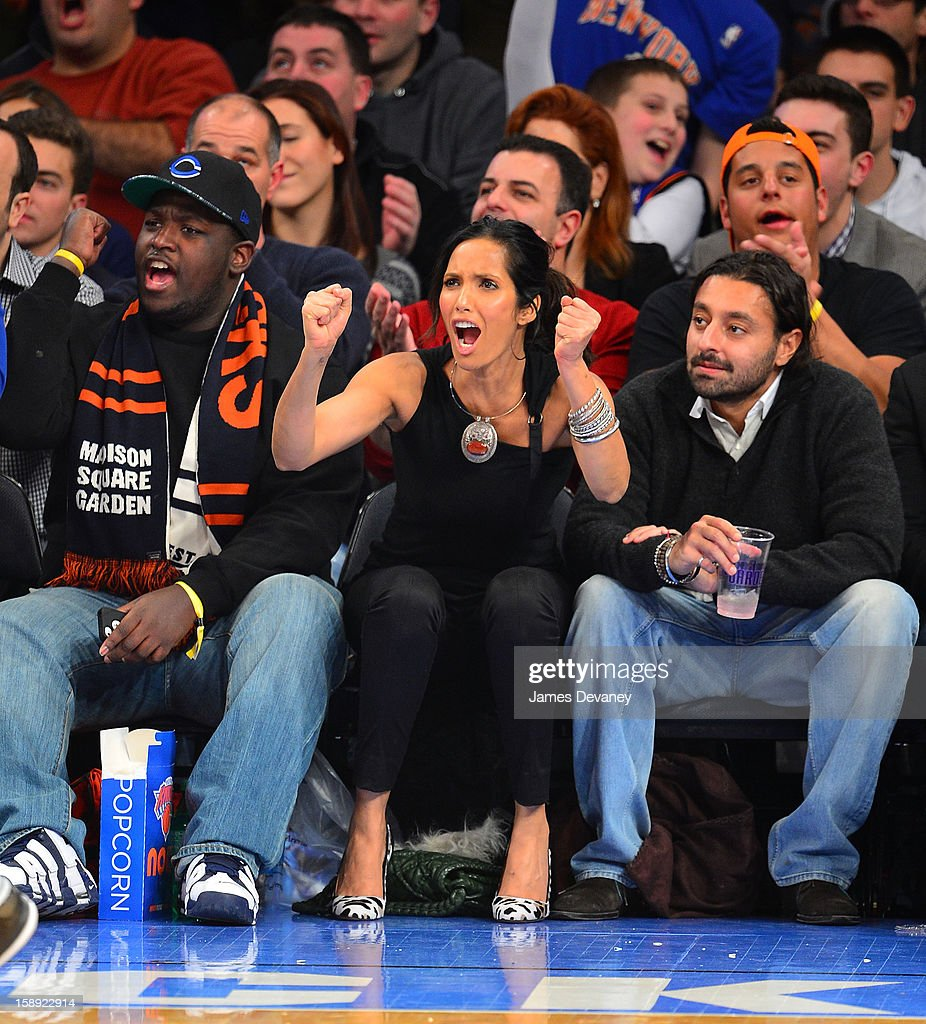 <a gi-track='captionPersonalityLinkClicked' href=/galleries/search?phrase=Padma+Lakshmi&family=editorial&specificpeople=201593 ng-click='$event.stopPropagation()'>Padma Lakshmi</a> attends the San Antonio Spurs vs New York Knicks game at Madison Square Garden on January 3, 2013 in New York City.