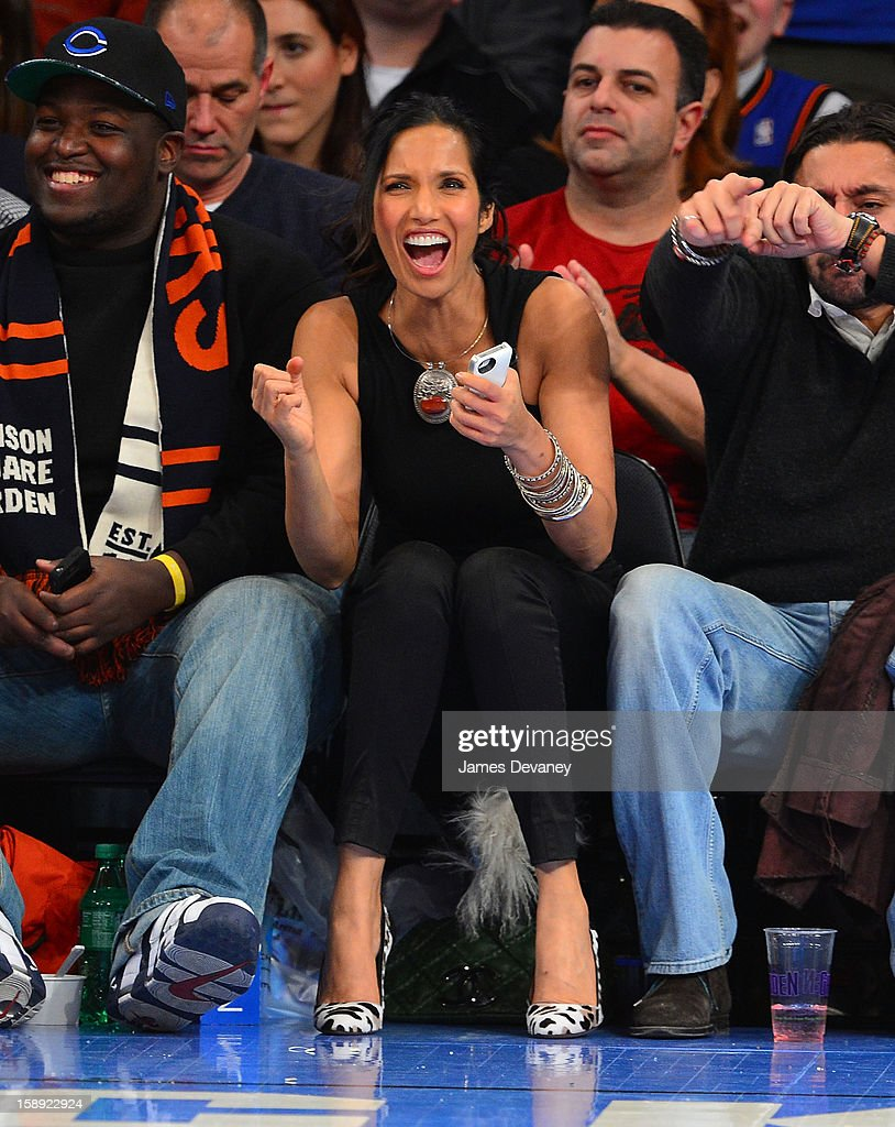 Padma Lakshmi attends the San Antonio Spurs vs New York Knicks game at Madison Square Garden on January 3, 2013 in New York City.