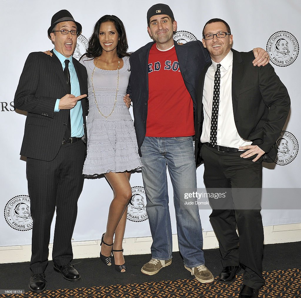 Padma Lakshmi, contestants <a gi-track='captionPersonalityLinkClicked' href=/galleries/search?phrase=Mike+Morse&family=editorial&specificpeople=227925 ng-click='$event.stopPropagation()'>Mike Morse</a>, Robb Coles and Charlie Gaete at The Friars Club Presents: Do You Think You Can Roast?! Padma Lakshmi at New York Friars Club on February 1, 2013 in New York City.