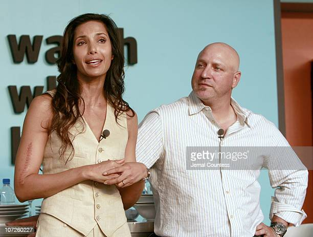 Padma Lakshmi host of Bravo's 'Top Chef' with cohost and judge Tom Colicchio