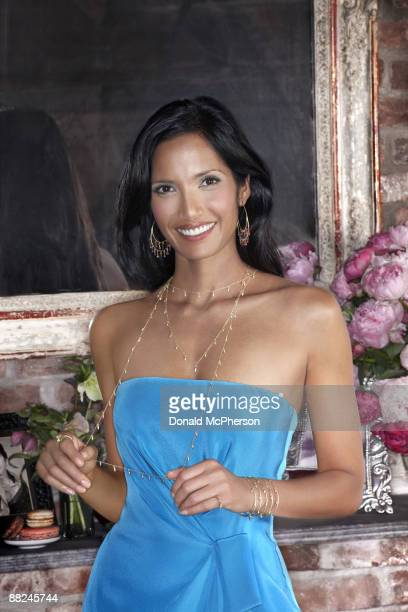 Padma Lakshmi host of television show Top Chef and jewelry designer poses in her New York apartment for In Style Magazine Published image