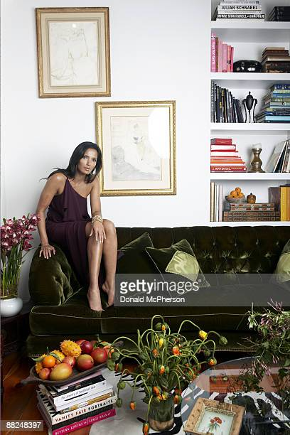 Padma Lakshmi host of television show Top Chef and jewelry designer poses in her New York apartment for In Style Magazine