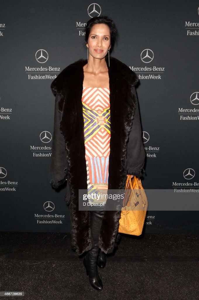 <a gi-track='captionPersonalityLinkClicked' href=/galleries/search?phrase=Padma+Lakshmi&family=editorial&specificpeople=201593 ng-click='$event.stopPropagation()'>Padma Lakshmi</a> is seen during Mercedes-Benz Fashion Week Fall 2014 at Lincoln Center for the Performing Arts on February 11, 2014 in New York City.