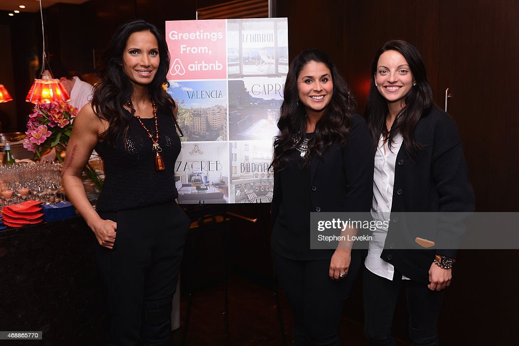 Padma Lakshmi, Maria Rodriguez of Airbnb and Erin Aquino of Airbnb pose as Padma Lakshmi celebrates European travel with Airbnb on April 7, 2015 in New York City.
