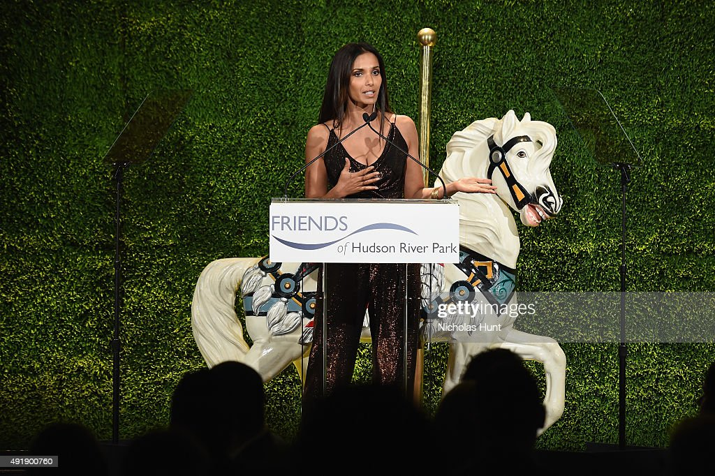 Padma Lakshmi speaks onstage during the 2015 Friends of Hudson River Park Gala at Hudson River Park's Pier 62 on October 8, 2015 in New York City.