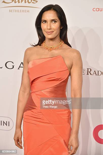 Padma Lakshmi wears Bulgari to the Elton John AIDS Foundation's 15th Annual An Enduring Vison Benefit At Cipriani Wall Street at Cipriani Wall Street...