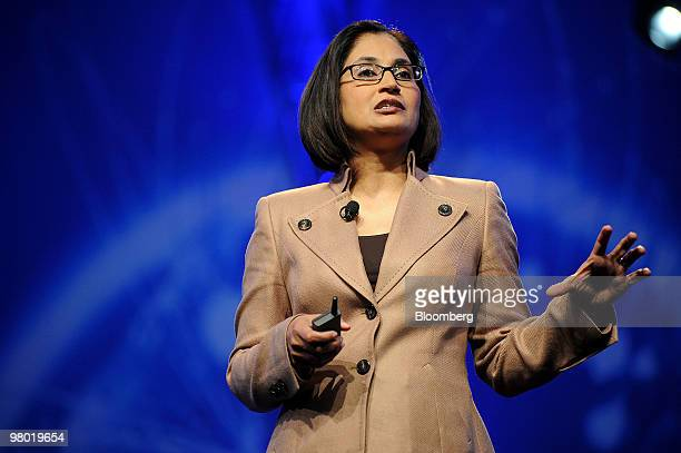 Padmasree Warrior chief technology officer of Cisco Systems Inc speaks at the CTIA Wireless conference in Las Vegas Nevada US on Wednesday March 24...