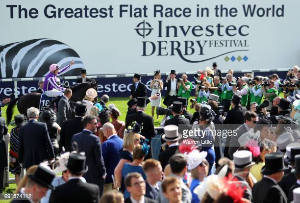 Padraig Beggy riding Wings Of Eagles celebrates victory after the Investec Derby at Epsom Racecourse on June 3 2017 in Epsom England
