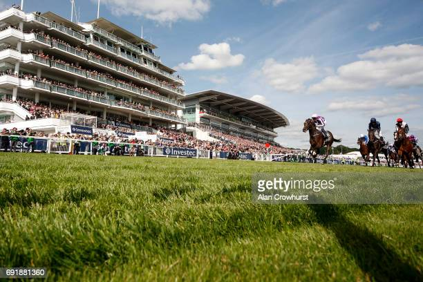 Padraig Beggy riding Wings Of Eagles win The Investec Derby from Cliffs Of Moher on Investec Derby Day at Epsom Racecourse on June 3 2017 in Epsom...