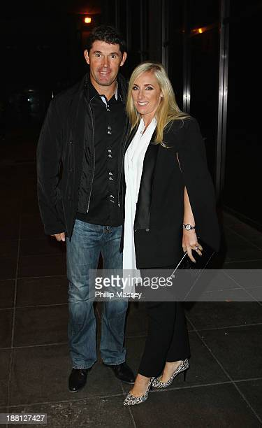 Padraig Harrington and wife Caroline Harrington appear on the Late Late Show at RTE Studios on November 15 2013 in Dublin Ireland