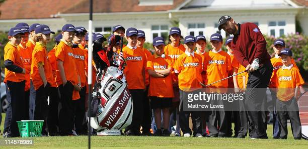 Padraig Harrington coaches children from Ascot Heath C of E Junior School and Harmanswater Primary School during an RA Working for Golf Clinic at...
