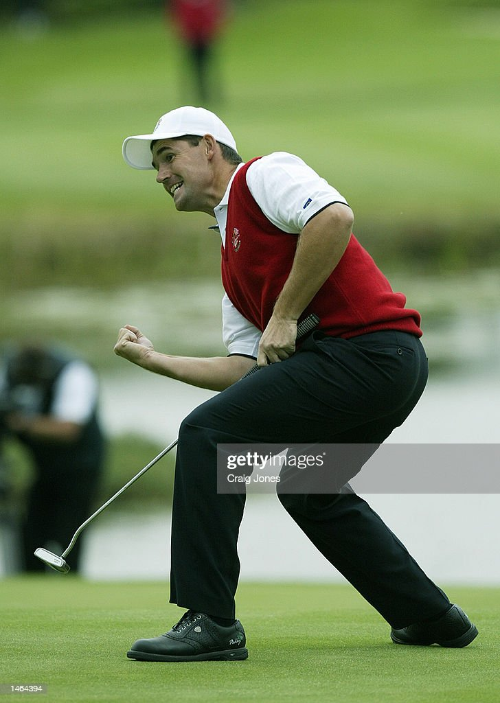 Padraig Harrington of Europe narrowly misses his putt to halve the match on the final hole during the morning fourballs on the first day of the 34th...