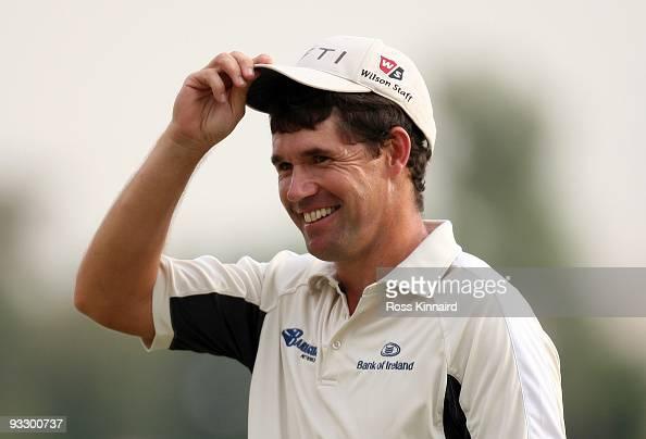 Padraig Harrington of Ireland after the final round of the Dubai World Championship on the Earth Course Jumeriah Golf Estates on November 22 2009 in...