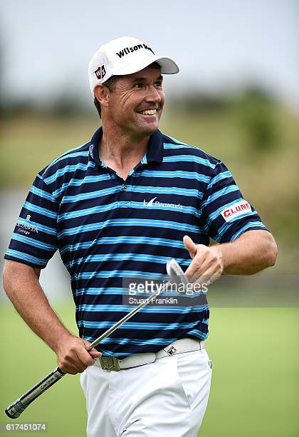 Padraig Harrington of Ireland celebrates victory on the 18th green during day four of the Portugal Masters at Victoria Clube de Golfe on October 23...