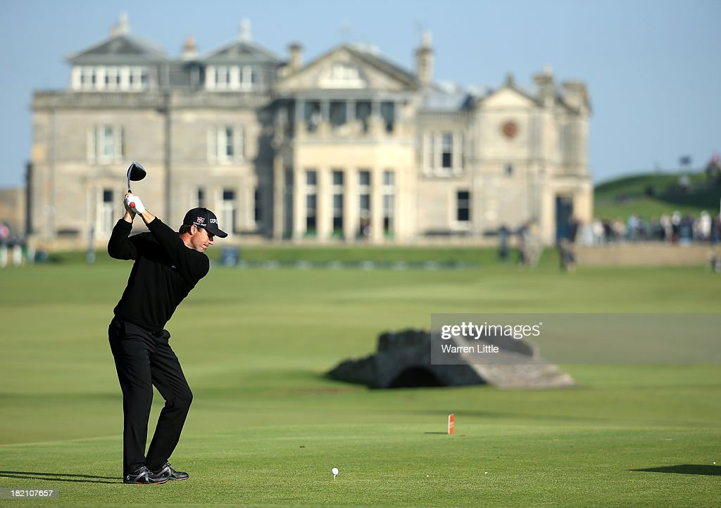 Padraig Harrington of Ireland drives off the 18th tee during the third round of the Alfred Dunhill Links Championship on The Old Course, at St Andrews on September 28, 2013 in St Andrews, Scotland.