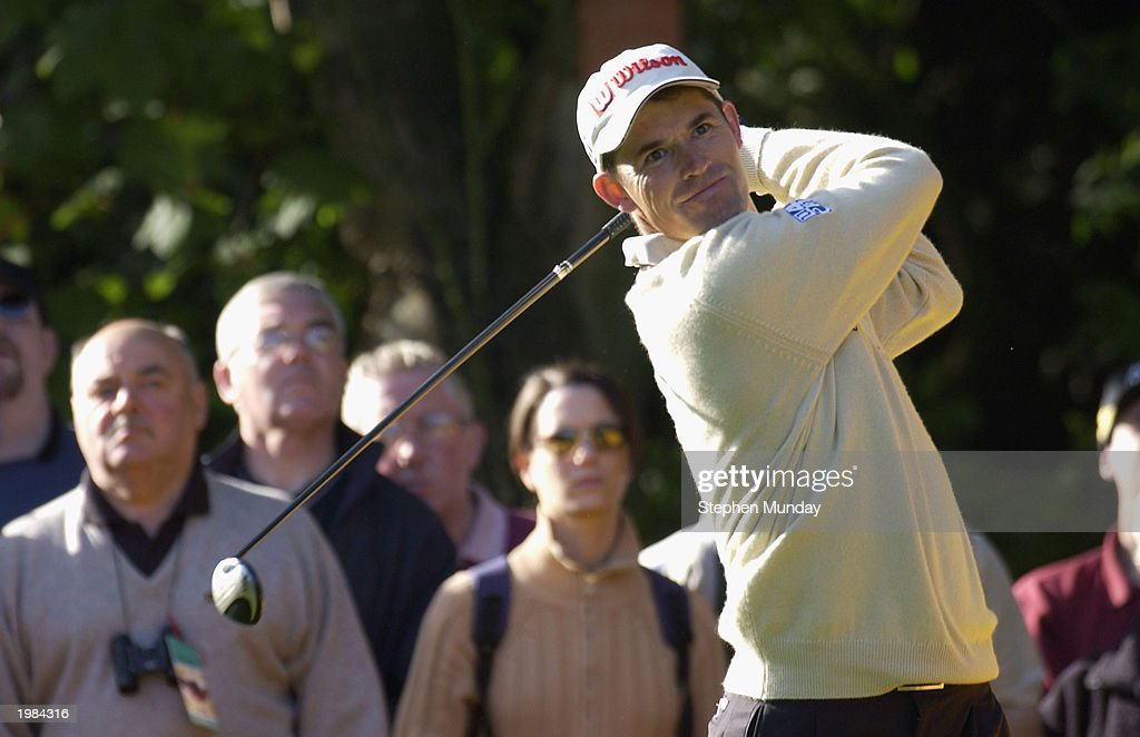 Padraig Harrington of Ireland drives on the par four 11th hole during the second round of the Benson Hedges International Open on the Brabazon course...