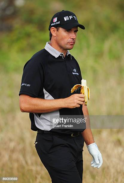 Padraig Harrington of Ireland eats a banana during round one of the 138th Open Championship on the Ailsa Course Turnberry Golf Club on July 16 2009...