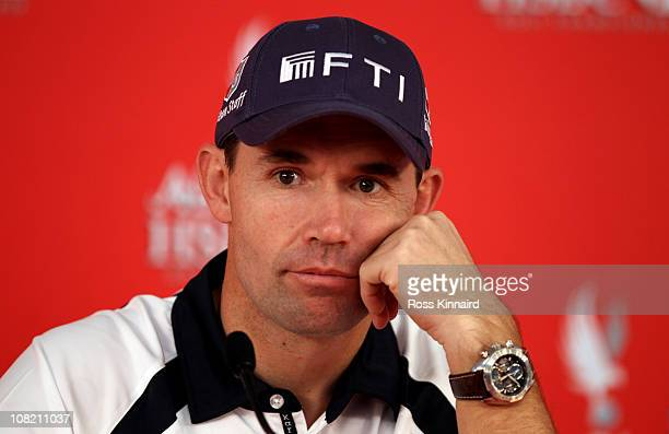 Padraig Harrington of Ireland gives a press conference after being disqualified before his second round of the Abu Dhabi HSBC Golf Championship at...