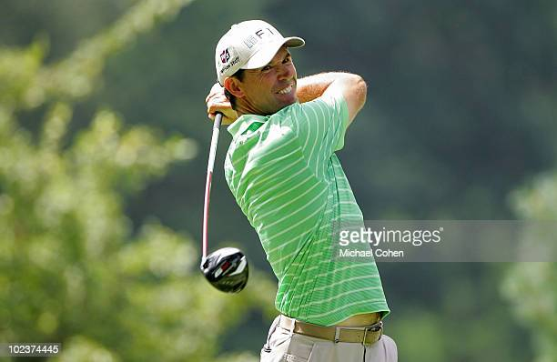 Padraig Harrington of Ireland hits a drive during the first round of the Travelers Championship held at TPC River Highlands on June 24 2010 in...