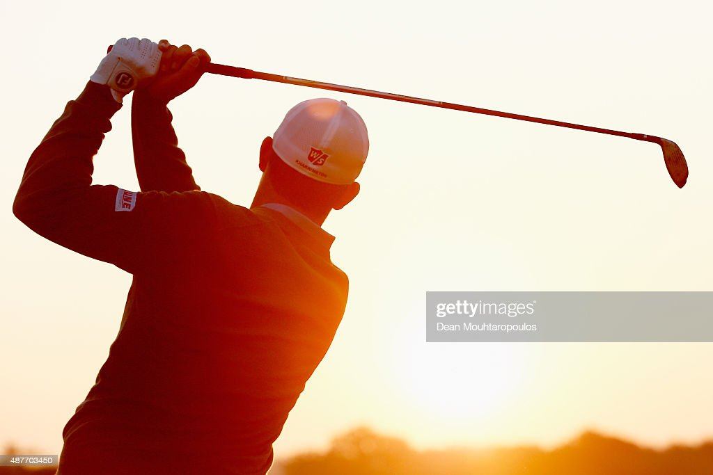 <a gi-track='captionPersonalityLinkClicked' href=/galleries/search?phrase=Padraig+Harrington&family=editorial&specificpeople=175865 ng-click='$event.stopPropagation()'>Padraig Harrington</a> of Ireland hits a practice shot on the driving range prior to Day 2 of the KLM Open held at Kennemer G & CC on September 11, 2015 in Zandvoort, Netherlands.