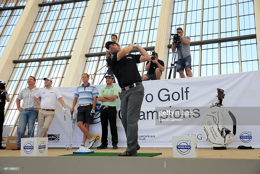 Padraig Harrington of Ireland hits a shot during The Volvo Golf Champions Moses Mabhida Stadium Challenge as a preview for the 2014 Volvo Golf Champions tournament at Durban Country Club on January 7, 2014 in Durban, South Africa.