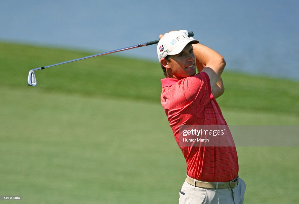 Padraig Harrington of Ireland hits his fourth shot on the fifth hole during the third round of the Shell Houston Open at Redstone Golf Club on April...