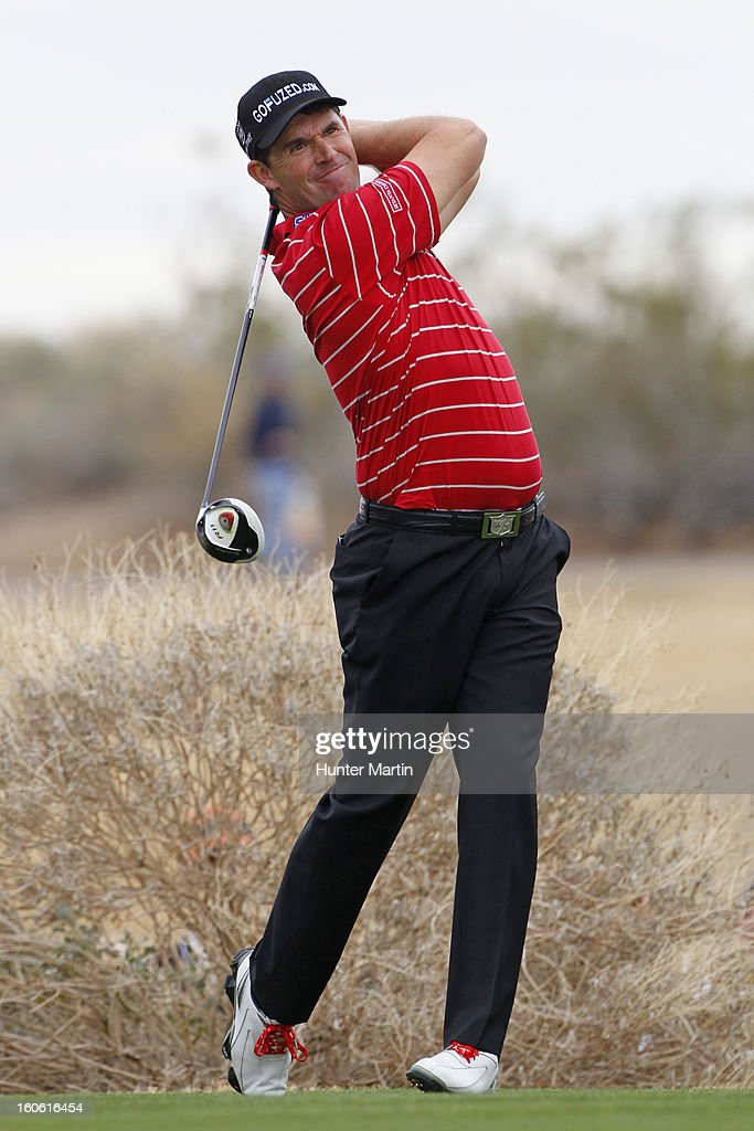 Padraig Harrington of Ireland hits his tee shot on the 13th hole during the final round of the Waste Management Phoenix Open at TPC Scottsdale on February 3, 2013 in Scottsdale, Arizona.