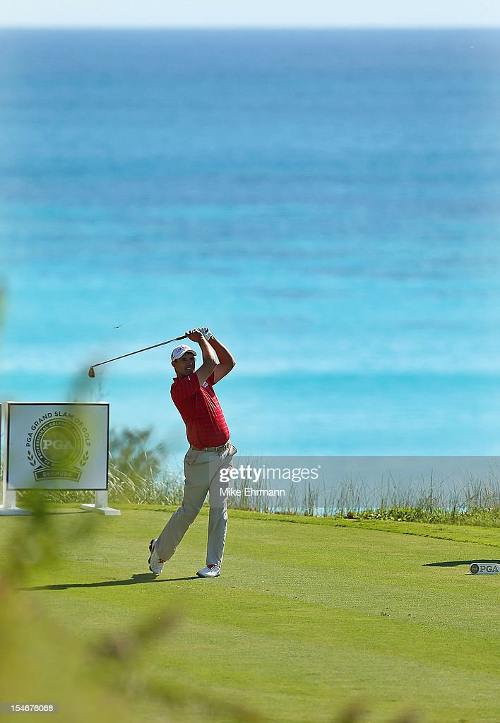 Padraig Harrington of Ireland hits his tee shot on the 16th hole during the final round of the PGA Grand Slam of Golf at Port Royal Golf Course on October 24, 2012 in Southampton, Bermuda.