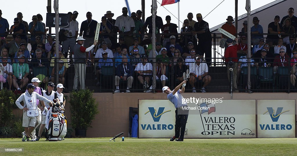 <a gi-track='captionPersonalityLinkClicked' href=/galleries/search?phrase=Padraig+Harrington&family=editorial&specificpeople=175865 ng-click='$event.stopPropagation()'>Padraig Harrington</a> of Ireland hits his tee shot on the 16th hole during the third round of the Valero Texas Open held at the AT&T Oaks Course at TPC San Antonio on April 6, 2013 in San Antonio, Texas.